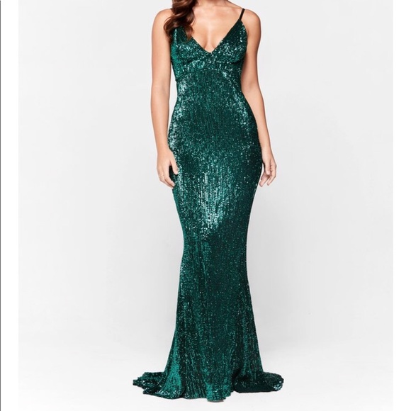 Emerald Sequin Prom Dress